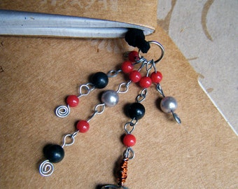 Beaded Leather Bookmark Book Thong Thor Red Black and Silver Norse Mythology Inspired
