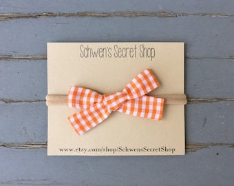 Orange gingham baby bow, hand tied bow, baby girl headband, nylon headband, school girl bow, baby bow headband, baby hair bow, baby bows