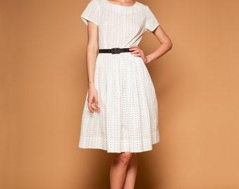 Polka dot dress 1950 party dress Short sleeve dress Fit and flare Pleated skirt dress Full skirt dress Plus size dress Dress with pockets