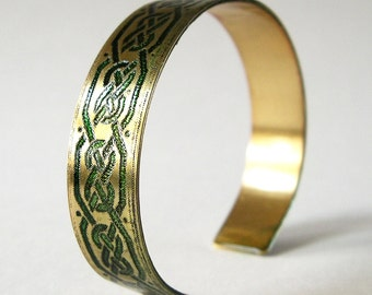 Cuff Bracelet, Etched Brass Cuff Green Celtic Knots - Free Domestic Shipping