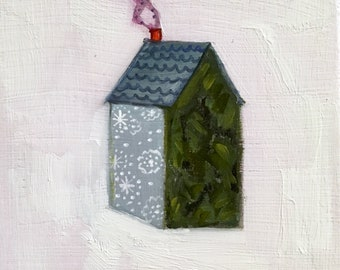 A home made of forests and snowfall - original oil painting on wood