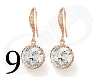 Set of 9 Rose Gold Earrings Rose Gold Earings Bridesmaid Earrings RoseGold Bridal Jewelry Earring Wedding Jewelry Gift Rose Gold Earring