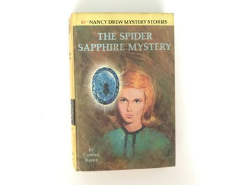 "Vintage Nancy Drew 1968 1975 Mystery Book ""The Spider Sapphire Mystery"" by Carolyn Keene #45 Vintage Book Detective Story Juvenile Reading"
