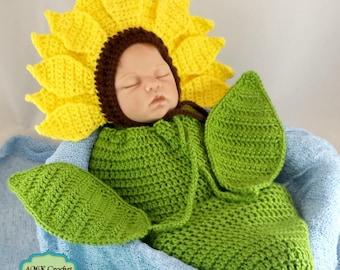 Pattern- Crochet Newborn Sunflower Bonnet Hat with Cocoon Photo Prop Pattern, Newborn Photography Sunflower Outfit Crochet Pattern