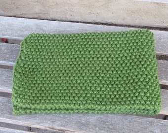 Green Seed Stitch Scarf, Olive Green Knitted Scarf, Womans Scarf, Mans Scarf