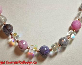 Pink, Purple, Clear AB Necklace - Quartz Agate Copper AB Round