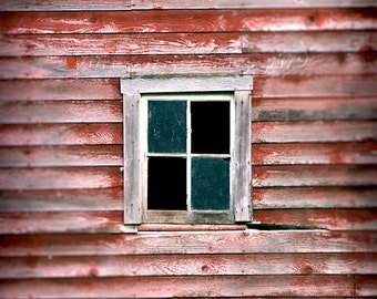 Red Barn Photograph, Rustic Home Decor, Weathered Wood, Window Photo, Farmhouse Decor, Country Photo, Rustic Photography, Barn Print