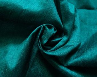 Pure Silk Fabric, Pure Dupioni Silk Fabric, Silk Fabric, Indian Silk Fabric, Teal Green Silk Fabric