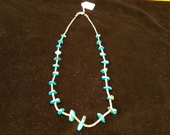 Vintage SantoDomingo Heishi and Turquoise Nugget Necklace