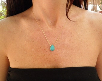Turquoise Necklace, 14k Gold Filled, Sterling Silver, Drop Necklace Gold, Teardrop Pendant, Bridesmaid Gift, Thin Gold Chain, Gift for Maids