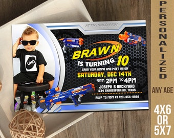 Nerf, Nerf Invitation, Nerf Party, Nerf Birthday, Nerf Card, Nerf Gun, Grab Your Gun and Ammo!!, Nerf Printable UF0106