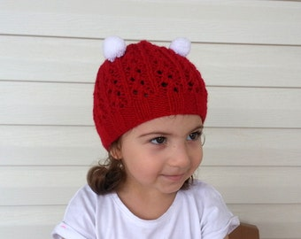 Knit Baby Hat in Red and White-Christmas Baby Hat,Photo Prop - for Baby or Toddler- Ponpon hat-Baby Girl or Boy Hat