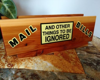 Vtg Knotty Cedar Wood Things to Be Ignored Mail and Bills Souvenir Desk Letter Holder