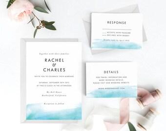 Modern Wedding Invitation Suite, Wedding Invitation Printable, Invitation Set, Wedding Invitation Rustic, PDF Letter or A4 (Item code: P094)
