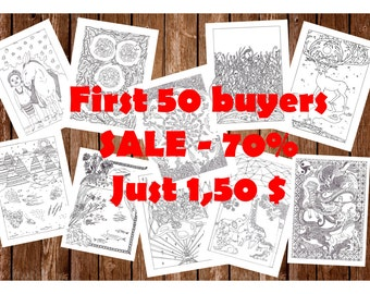 Printable coloring pages, book/Nature/10 pages/