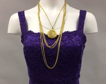 1980's Vintage Gold Multiple Chain Republique Francaise Coin Locket Necklace with Multiple Strands | French Coin Necklace