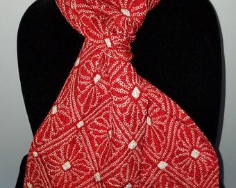 Kimono Scarf S7983 - red and white shibori