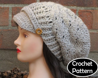 CROCHET HAT PATTERN Instant Download Pdf - Hallie Newsboy Slouchy Brimmed Beanie Hat Womens - Permission to Sell English Only
