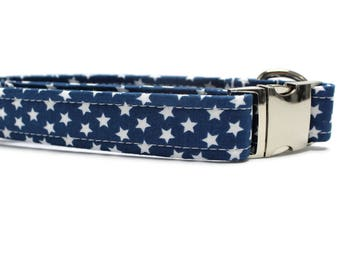 Blue and White Stars Dog Collar | Your choice of metal buckle or plastic buckle | Star Dog Collar | Girl Dog Collar | Boy Dog Collar