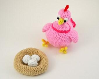 Hen Crochet Pattern, Chicken Crochet Pattern, Hen Amigurumi Pattern, Chicken Amigurumi Pattern, Amigurumi Chicken, Eggs Crochet Pattern
