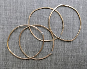 1.5 inch raw brass circles- raw forged hoops, large brass hoops, hammered circles, forged circles, large thin circles, connector rings