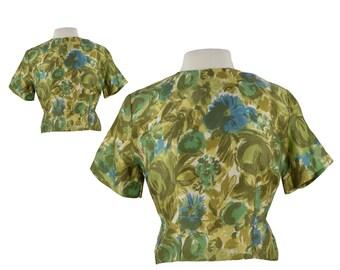 Vintage 50s Blouse, 1950s Crop Top, Green Floral Retro Top, Floral Shirt, Cropped Shirt, Cropped Top, Retro Blouse, Large Size 10/12/14