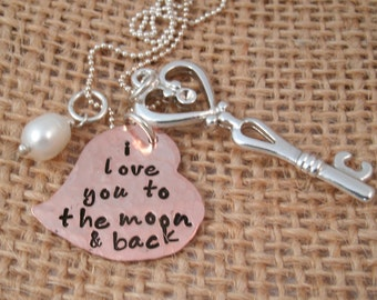 I love you to the moon and back Necklace -  - Moon and Back neckalace - To the moon and back - Valentine's Day Gift for her