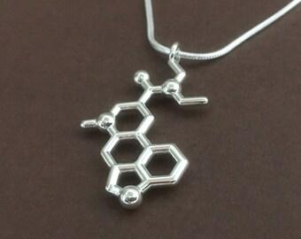 LSD molecule necklace in solid sterling silver