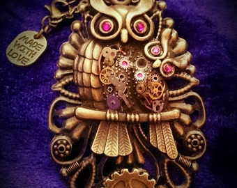 """WHOLESALE! Steampunk """"Mother hoot & hootlet"""" owl necklaces x10"""