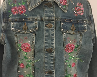 Decorated girls' Denim  Jeans Jacket 10-