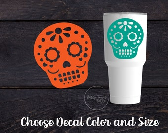 Sugar Skull Vinyl Decal Sticker - Day of the Dead - Halloween - Cup Decal - Tumbler Decal -  Car Decal - Computer Decal - Custom Vinyl