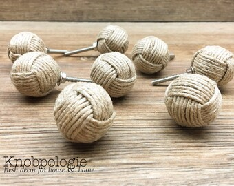 """SET OF 8 - 1.25"""" Jute Rope Wrapped Knobs - Monkey Fist Knobs - Nautical Decor - Tan Burlap Rope - Natural Rustic Kitchen Home Accents"""