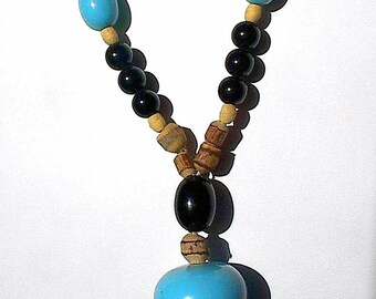 Ethnic Vintage Necklace Pendant Boho That 70's Show Groovy Bold Turquoise Aqua Lucite Chunky Rockabilly Cork Wood PeaCe Love Hippie Chic Mod