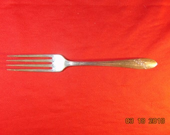 """One (1), 7 1/2"""", Silver Plated, Dinner Fork, from Tudor Plate/Oneida Community/Oneida, in the 1946 Queen Bess II Pattern."""