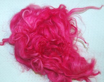Karakul Sheep Wool Locks for Spinning Felting and Doll Hair, Doll Wig, Troll Hair, Hand Dyed shades of Hot Pink 1 oz.