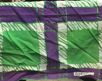 1960's Purple, White and Kelly Green Cotton Scarf by Givenchy