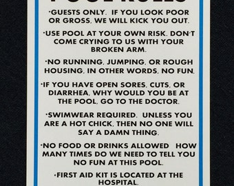 Real Life Pool Rules 12x18 Metal Sign.  Funny Pool Rules Sign.