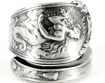 Horoscope Virgo Ring, Spoon Ring Sterling Silver, Virgo Jewelry, Virgo Zodiac Ring, Double Tailed Siren Ring, Mermaid Ring, Custom Size 3161
