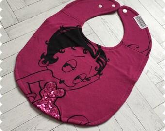 Betty Boop Baby Bib, Recycled T-Shirt Baby Bib, Baby Girl Gift, Cute Bib, Baby Shower Gift