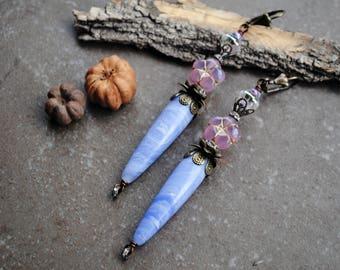 Long Spike Agate Earrings, Flower Earrings, Bohemian earrings, rustic earrings, Fairy Earrings, Fantasy Earrings, Long Dangle Earrings
