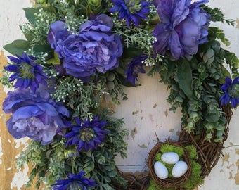 Summer Wreath for Front Door, Spring Wreath with Nest, Purple Wreath, Summer Wreath, Front Door Wreath