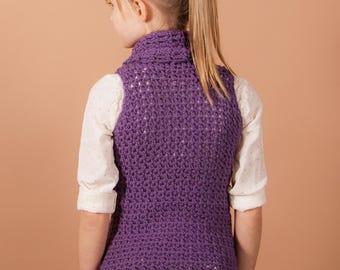 crochet vest pattern, top, cowl, Crochet pattern, crochet pattern, Cowl vest, instant download, one piece, easy crochet pattern, girls