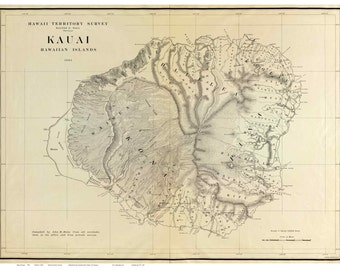 Map of Kauai 1903  - W.E. Wall - Hawaiian Islands