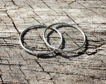 Sterling Silver Hoops - 16 OR 18 Gauge Hoop Earrings - 1 Inch Endless Hoops - Gauged Hoops - Stretched Earlobe - Sleepers - Two Feathers