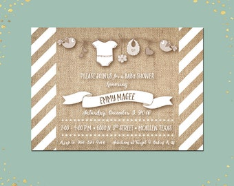 Qty 25+ Baby Shower Invitation Brown Burlap Baby Shower Invitation Rustic Baby Shower Invitation Shower Clothes Baby Shower Party