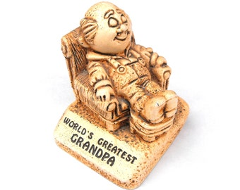 1970 World's Greatest Grandpa Wooden Paula Figurine Figure Curio - Carving Old Man Cave Carved Woodgrain Wood Mustache Overalls  Home Decor