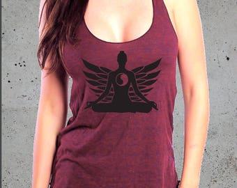 Yoga Tank, Yoga Shirt, Yoga Clothes, Yoga Clothing, Yoga Top, Yoga Tank Top, Women's Yoga, Yoga Tshirt, Womens Namaste Zen Lotus Racerback