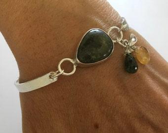 Green jasper bracelet, Green bracelet, Silver bracelet, Jasper bracelet, Silver jasper bracelet, Jasper jewelry, Sterling jasper, Jasper,