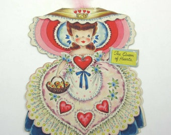 The Queen of Hearts Vintage 1940s Greeting Card Land of Make Believe Doll No. 11 Card by Hallmark