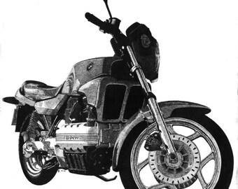 Art Print - Pen & Ink Drawing, A4 - BMW Bike